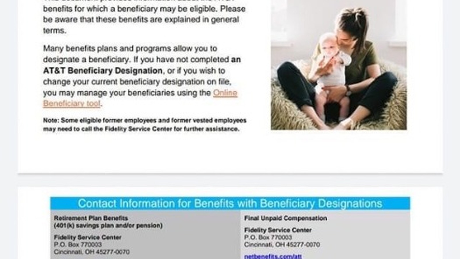 Image in support of: This document provides contact information about benefits for which a beneficiary may be eligible.