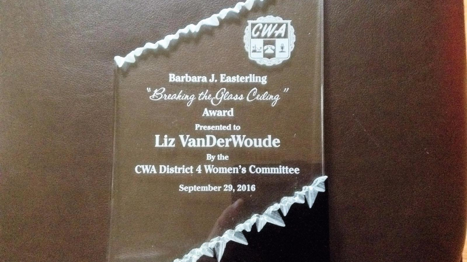Image in support of: CWA Local 4250/CTU #16 President Liz VanDerWoude, Received The CWA District 4 Barbara J Easterling, Breaking The Glass Ceiling Award on September 29, 2016, Detroit, Michigan.