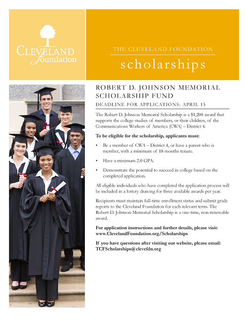 Image in support of: CWA District 4 Robert D. Johnson Memorial Scholarship - Application Deadline Is 5 p.m. EDT, April 15, 2018.  Awards Will Be Announced By June 15, 2018.