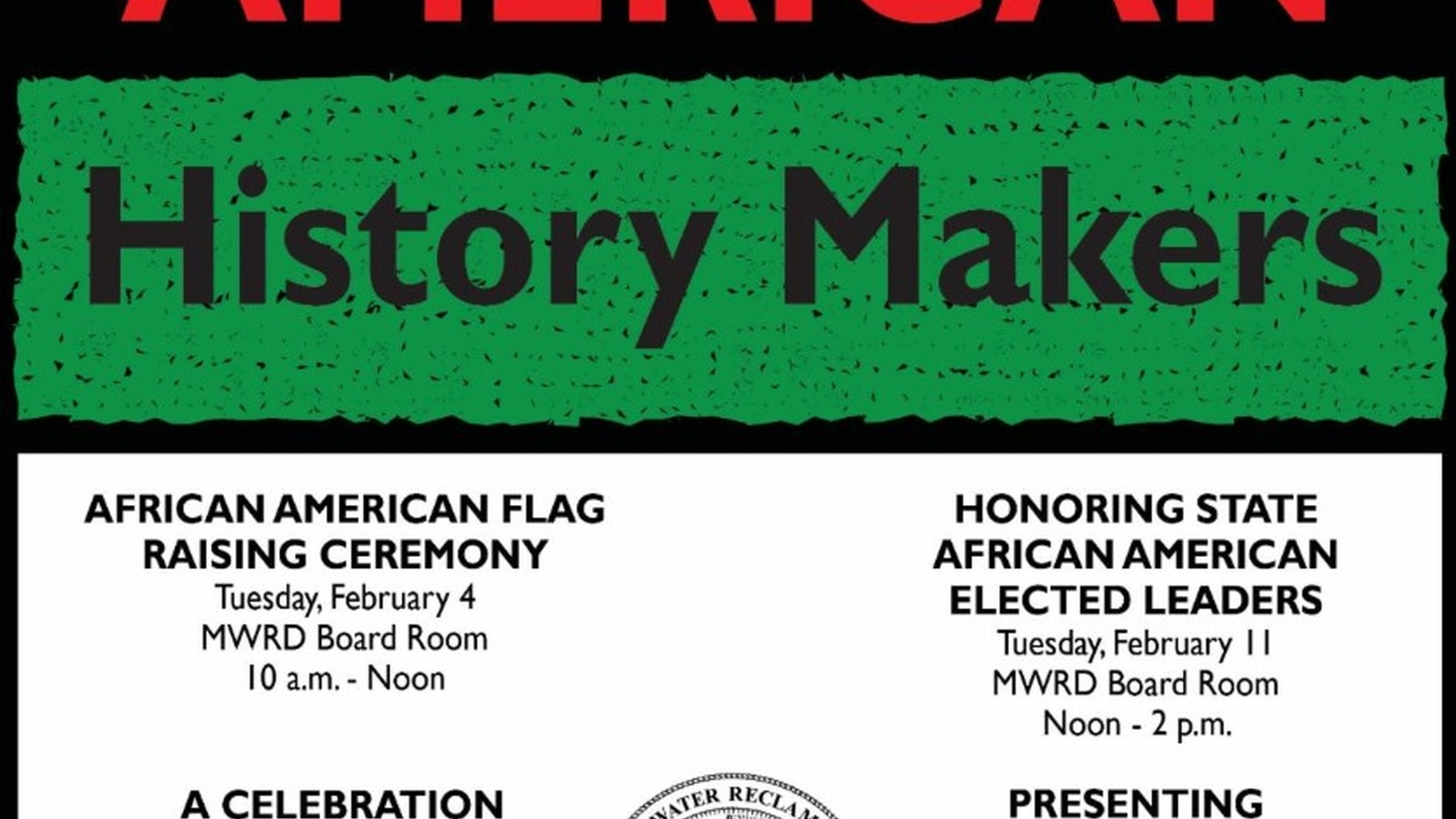 Image in support of: Celebrating African American History Makers at the MWRD to celebrate African American History Makers in February
