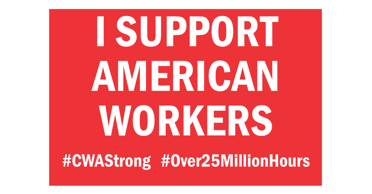 Image in support of: CWA Members In The Midwest & Legacy T Units Across The Country Have Worked Over 25 Million Working Hours Without A Contract With AT$T. Support American Workers!